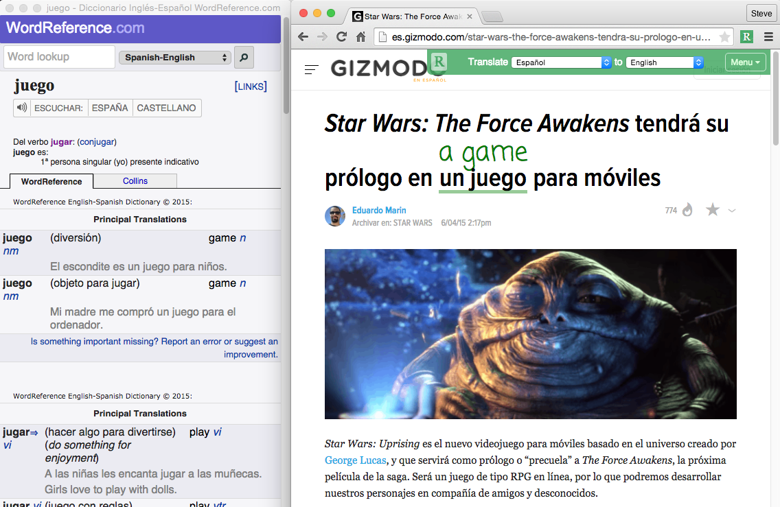 Web Reader with Dictionary reading Star Wars